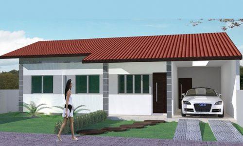 Planta de casa com 1 suíte, 1 quarto, escritório e garagem