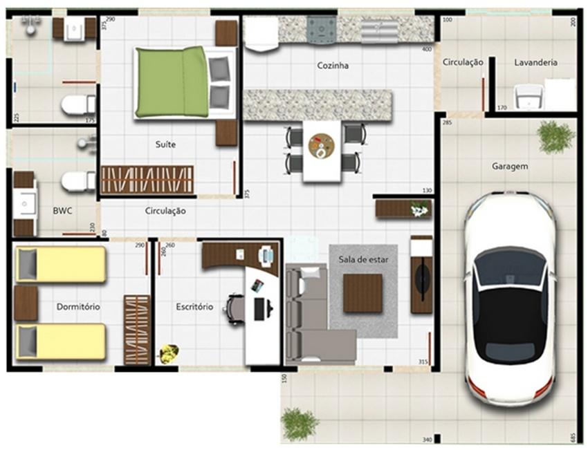 Casa terrea com dois quartos e garagem plantas de casas for Planos para tu casa