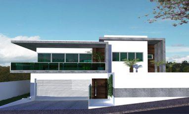 Fachada frontal de casa moderna com 2 andares e garagem