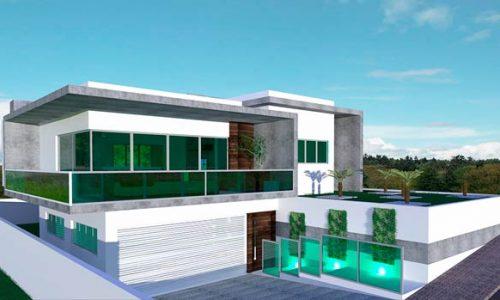 Planta de casa moderna com 1 suíte, 2 quartos e garagem para 2 carros