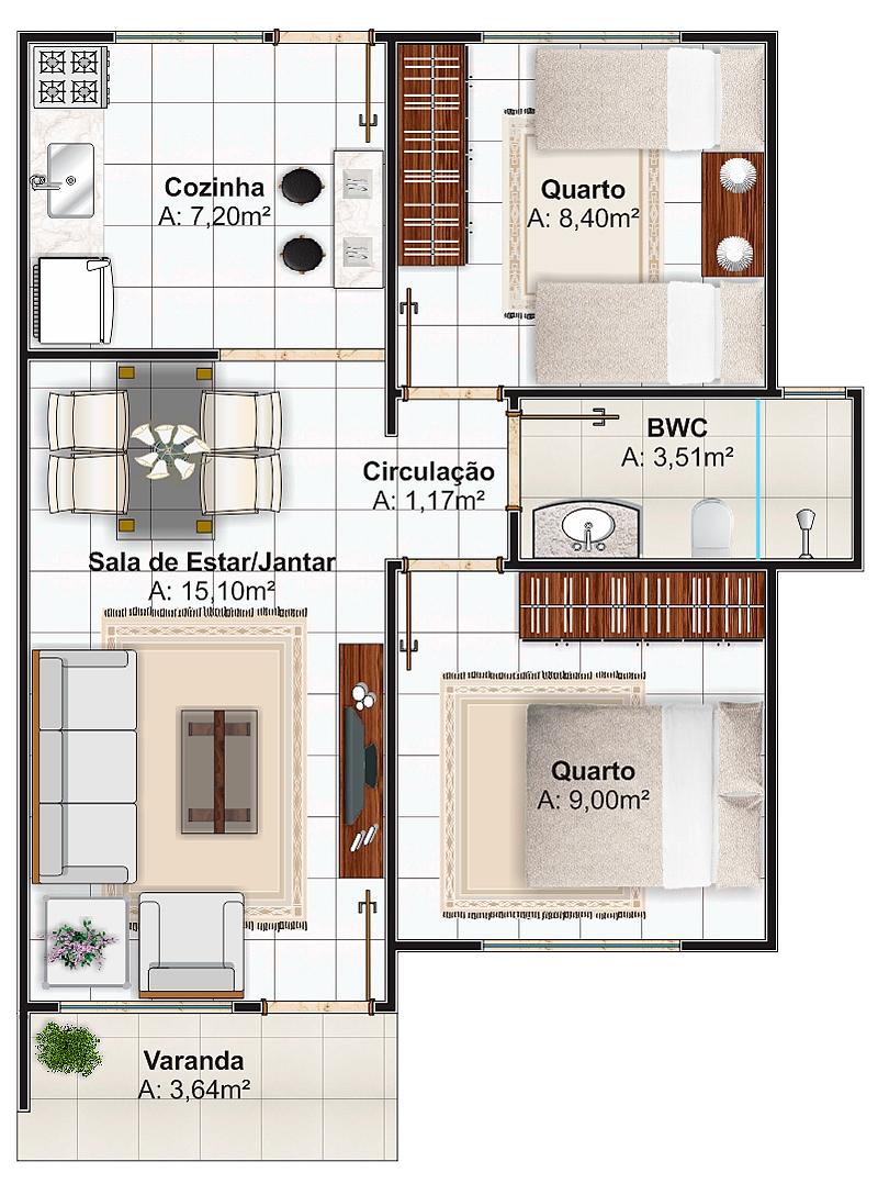 Planta de casa pequena e sofisticada com 2 quartos for Plantas arquitectonicas de casas