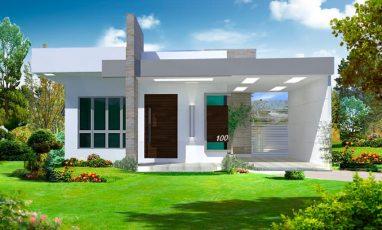 Projeto de Casa térrea com 1 suíte e 2 quartos