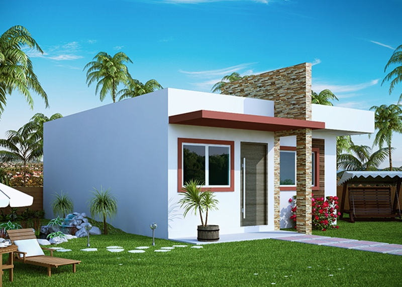 Projeto de casa pequena com 2 quartos e varanda plantas for Jardines para frentes de casas pequenas