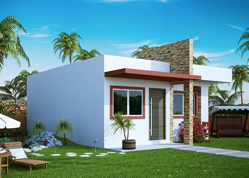 Projeto de casa pequena com 2 quartos e varanda plantas for Fachadas casa modernas pequenas