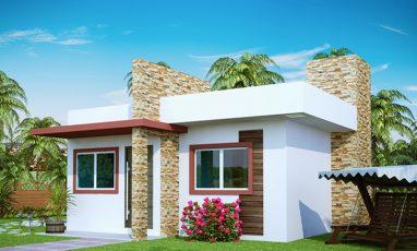 Vista lateral de Planta de Casa Pequena com 2 Quartos e varanda