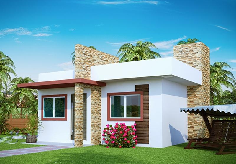 projeto de casa pequena com 2 quartos e varanda plantas