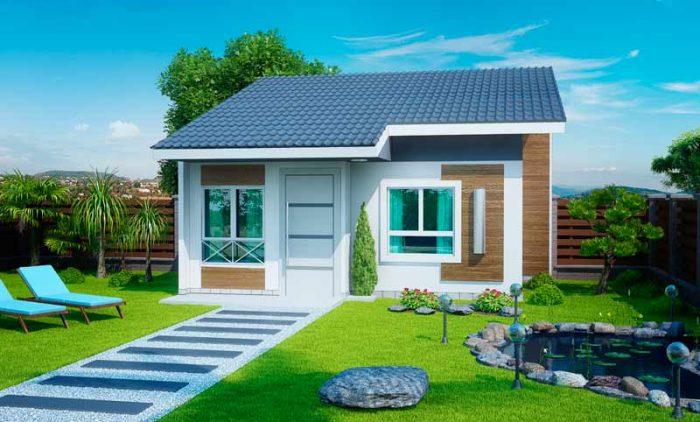 Planta de Casa Pequena e sofisticada com 2 quartos