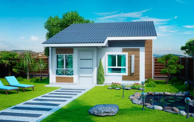 Planta de casa pequena e sofisticada com 2 quartos for Casa minimalista grande