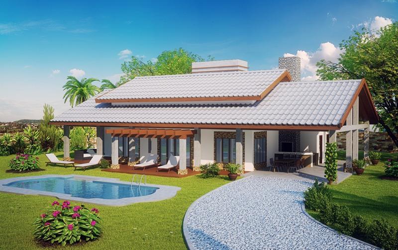 Casa de campo com 3 quartos plantas de casas for Modelos de casas de campo de una planta