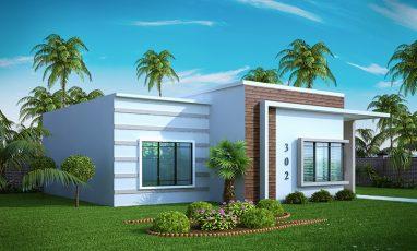 Planta de casa térrea moderna com 3 quartos