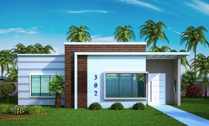 Planta de casa com 2 quartos de solteiro e 1 quarto de casal