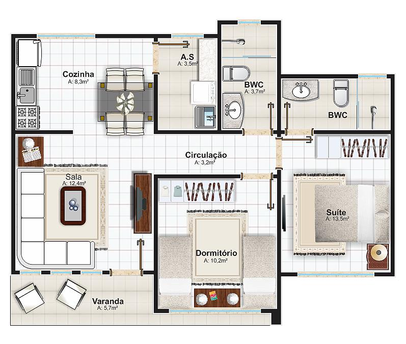 Casa salvador 2 quartos sendo 1 suite plantas de casas for Plantas de casas tipo 3 modernas