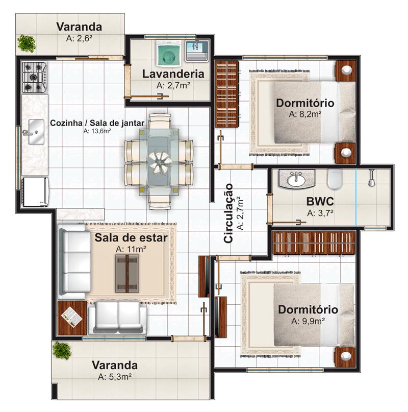 Planta de casa londrina casa pequena com 2 quartos for Cuarto 4x4 metros