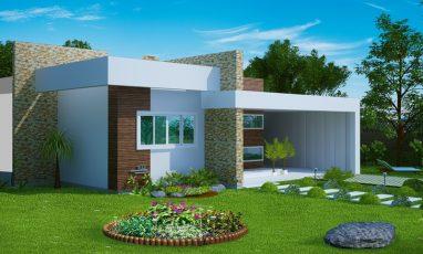 Planta de casa com 2 quartos e 1 suíte