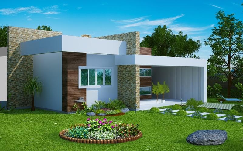 Casa fortaleza fachada moderna com 3 quartos e suite for Casa moderna 2 andares 3 quartos