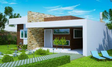 Projeto de casa moderna com 2 quartos e 1 suíte