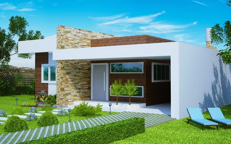Casa fortaleza fachada moderna com 3 quartos e suite for Modelos de casas de una planta modernas