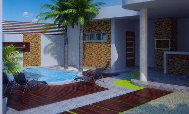 Planta de Edícula de sobrado moderno com piscina