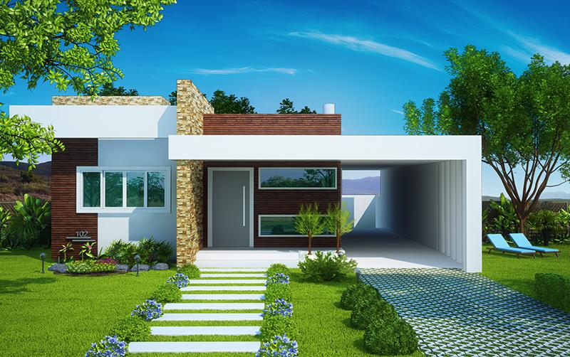Casa fortaleza fachada moderna com 3 quartos e suite for Casas pequenas de una planta modernas