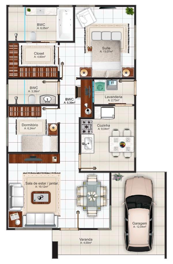 Casa Belem com 2 quartos, suite, closet e banheira  Planta de Casas -> Planta Baixa De Banheiro Com Banheira E Closet