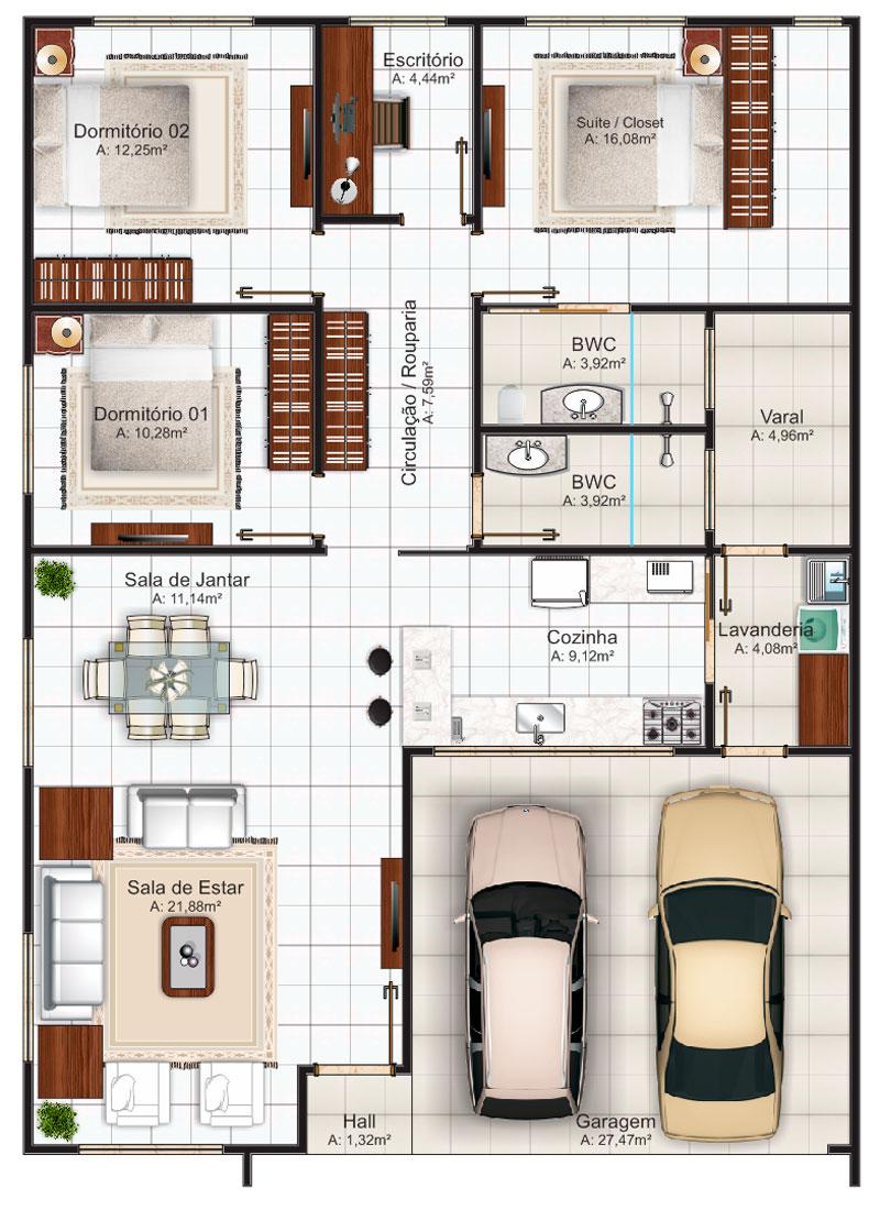 plano de casa económica de tres dormitorios, garage, dos baños y