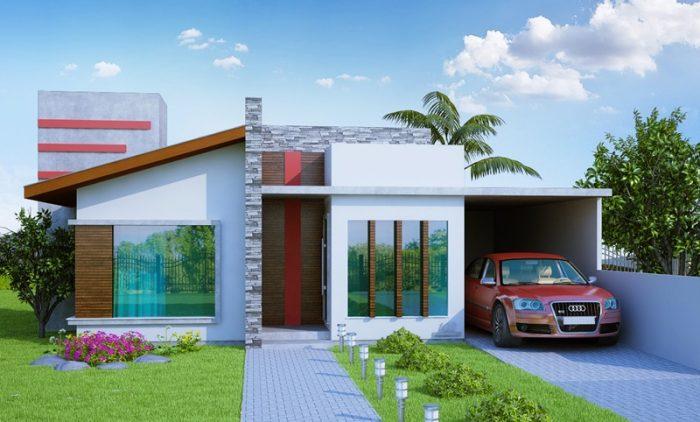 Planta de casa com 2 quartos, 1 suíte e espaço gourmet