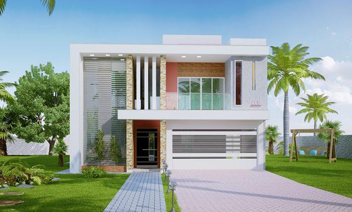 Projeto de casa com 2 suites, 1 quarto, varanda, área de festas e piscina