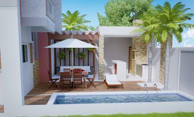 Área outdoor de sobrado com 2 suítes e piscina