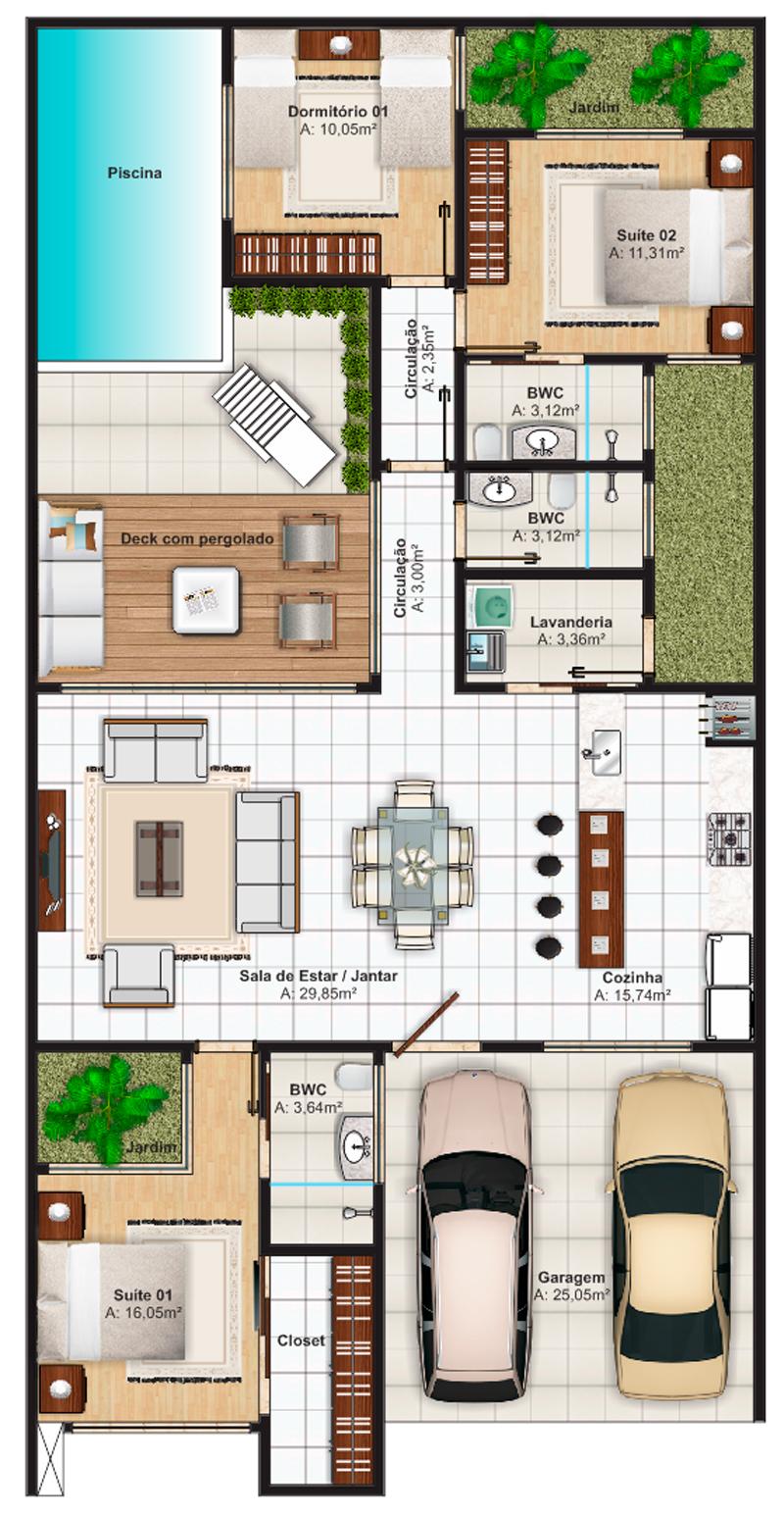 Projetos de Casas, Plantas de Casas | Barbara Borges