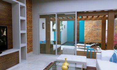 Vista de interior de planta de casa com piscina