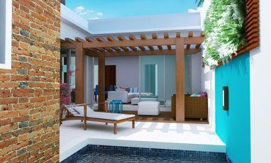 Interior de projeto de casa com piscina e deck