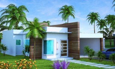 Lateral de planta de casa com 2 quartos e 2 vagas de garagem