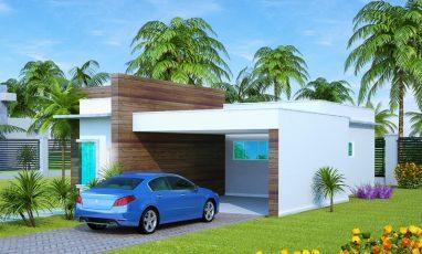Planta de casa térrea com 1 suíte, 1 quarto e 2 vagas de garagem