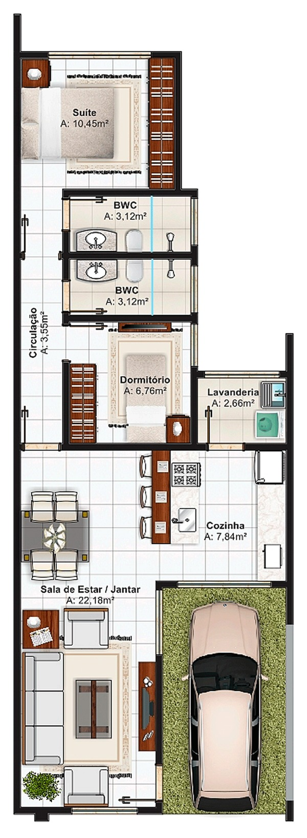 5 modelos de plantas de casas com su te e rea total at for Casas modernas de 70m2