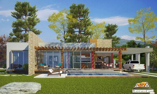 Planta de Casa de campo ou praia, 1 suíte e 2 quartos