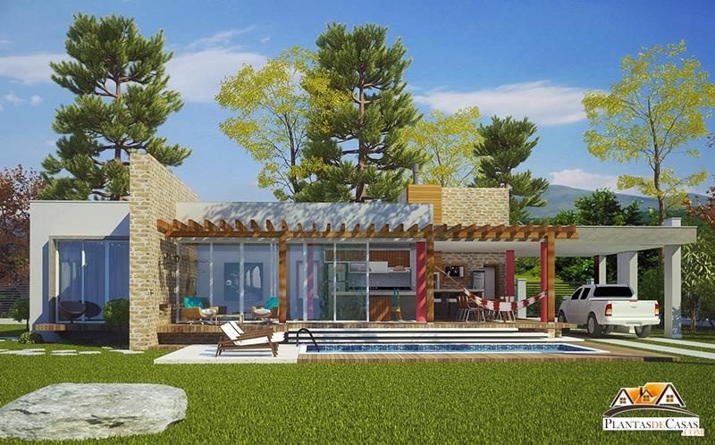para balneario ou campo com 3 quartos e suite  Plantas de Casas