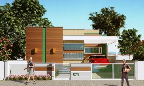 Projeto de casa com 3 quartos para terreno estreito