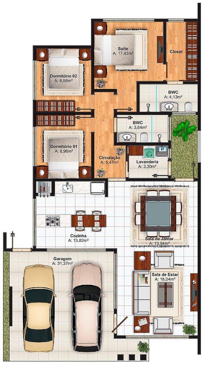Projeto de casa teresina linda casa t rrea com 1 su te e for Casas alargadas distribucion