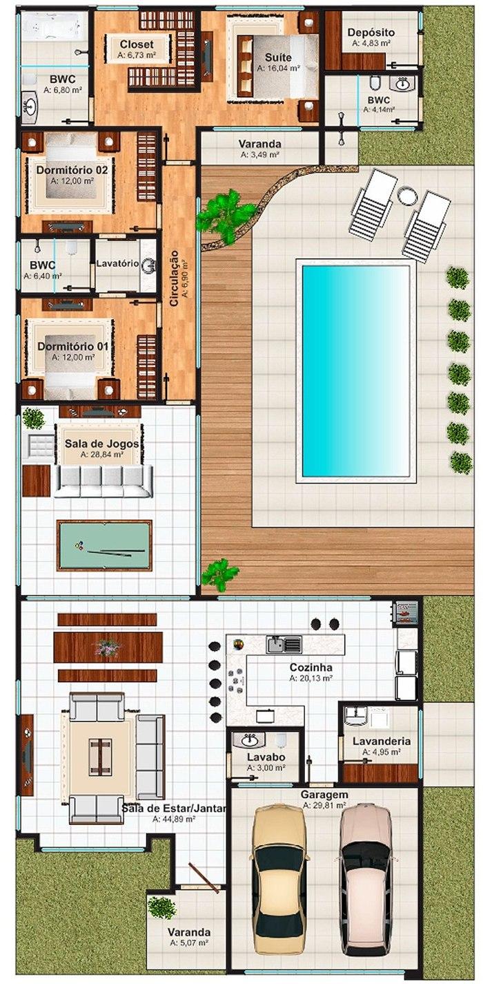 Planta de casa campo grande 1 su te 2 demi su tes e for Plantas de casas modernas con piscina