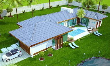 Vista aérea de planta de casa com 3 quartos e piscina