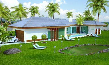 Projeto de casa com 3 quartos e piscina