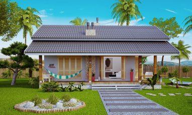 Fachada de planta de casa para praia estilo loft