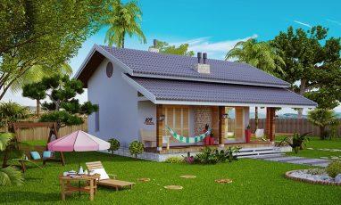 Planta de casa estilo loft para campo ou praia