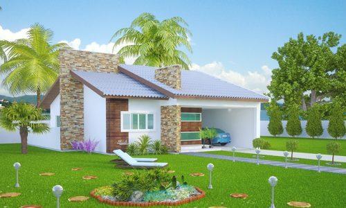 Planta de casa com 1 suíte, 2 quartos e 2 vagas de garagem
