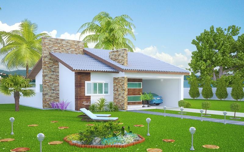 Casa sao goncalo mostra a simplicidade com muito for Modelos de jardines en casa