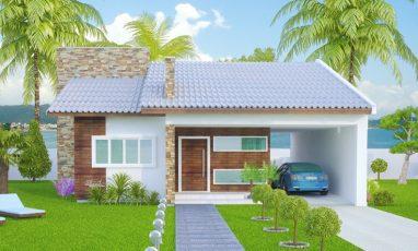 Fachada frontal de porjeto de casa com 1 suíte, 2 quartos