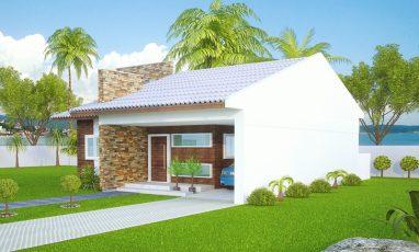 Lateral direita de projeto de casa térrea com 3 quartos e 2 garagens