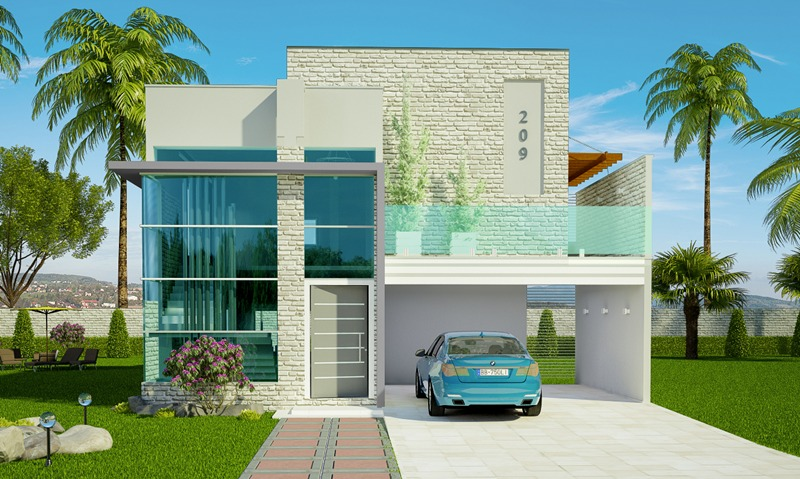 Projeto de sobrado jo o pessoa 2 vagas de garagem 1 for Casa moderna 150 m2