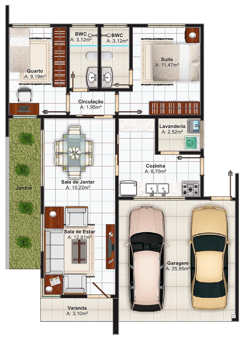 Planta de casa ideal para terrenos de 7 metros de frente for Plantas arquitectonicas de casas