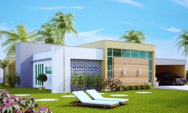 Vista lateral de planta de casa com 4 quartos moderna